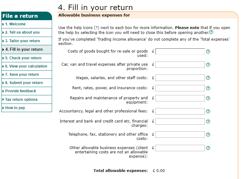 uk tax return expenses categories